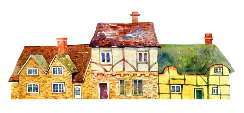 Edificios ingleses del pueblo en fila Casas de Europa viejas de la piedra de la acuarela Ilustraci?n drenada mano foto de archivo