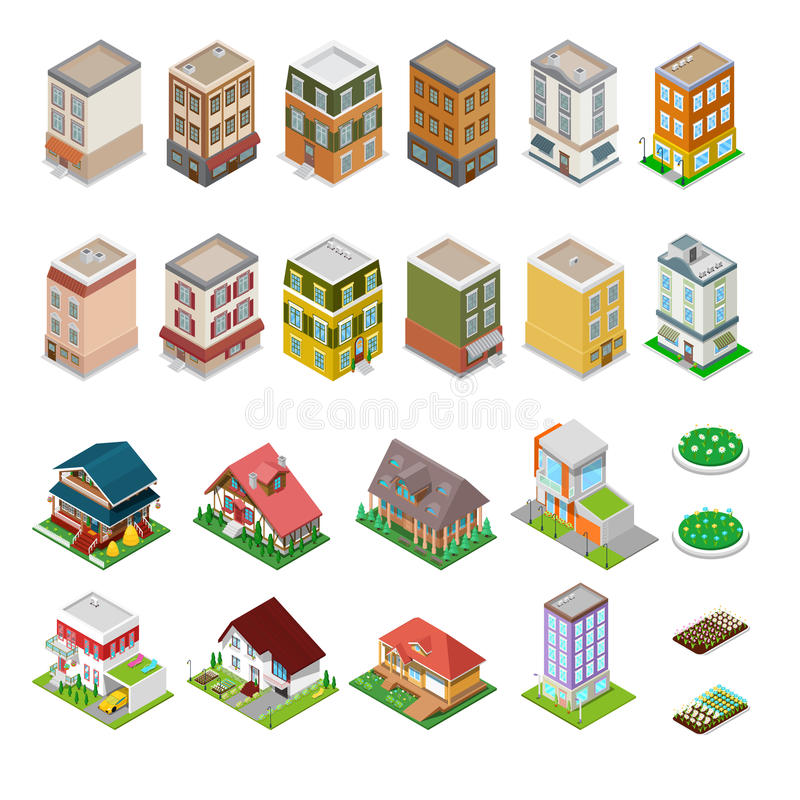 Edificios isométricos de la ciudad fijados Casas modernas con las flores stock de ilustración