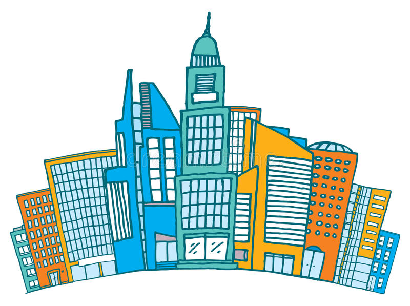 Edificios junto adentro céntricos o distrito financiero stock de ilustración