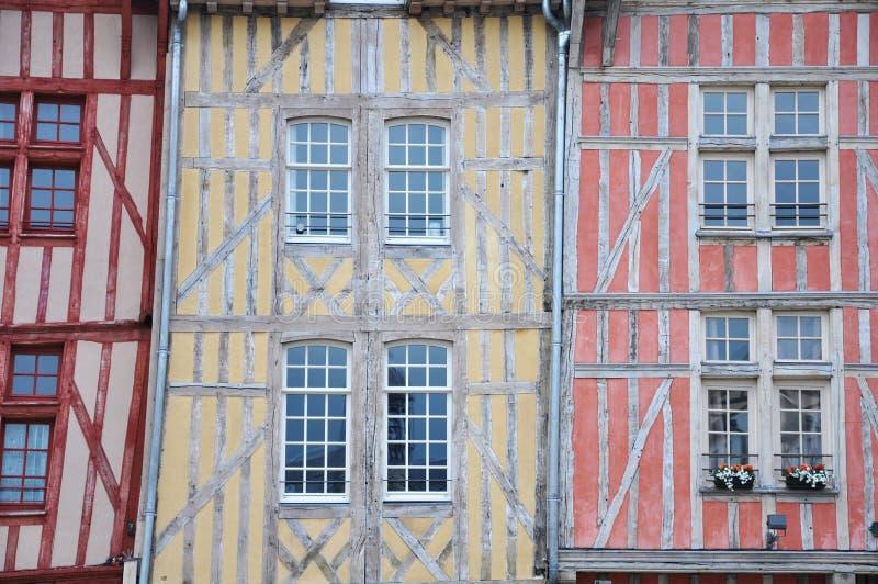 Edificios medievales Troyes Francia foto de archivo