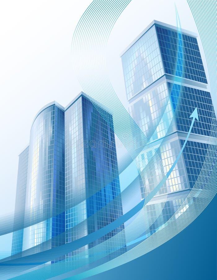 Edificios modernos de la ciudad y gráfico de asunto abstracto ilustración del vector