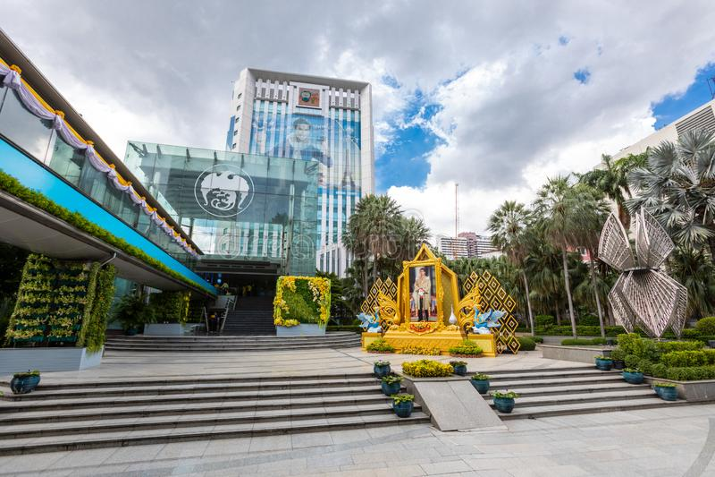 Edificios modernos en Bangkok central Tacto de KTC y banco tailandés de Krung fotos de archivo