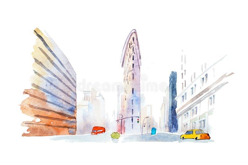 Edificios modernos en el ejemplo urbano de la acuarela de la opinión de ángulo bajo de la ciudad ilustración del vector