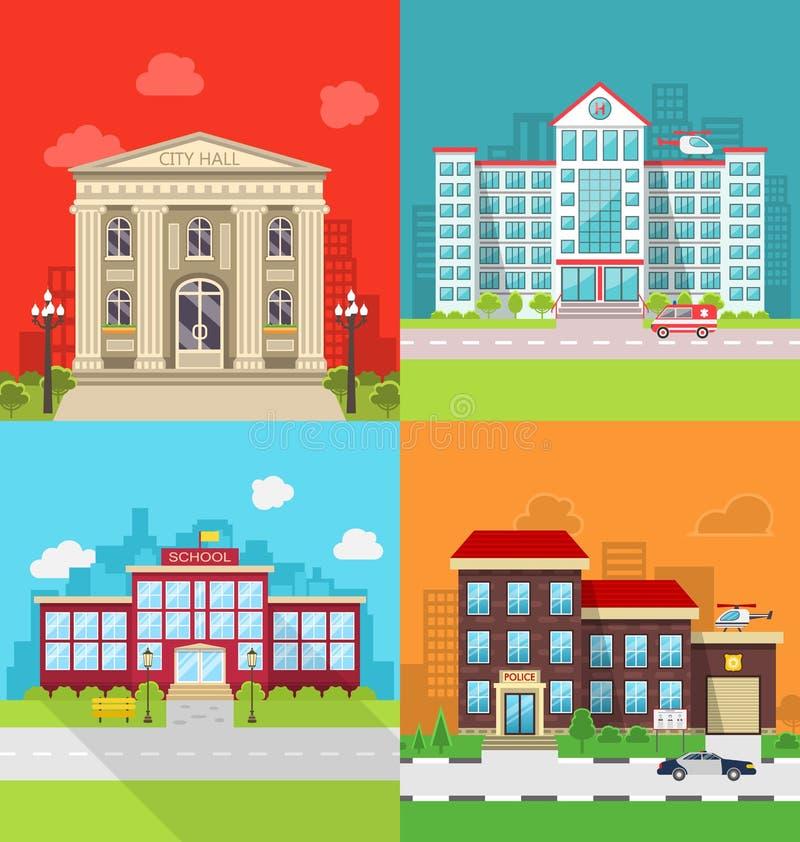 Edificios municipales determinados - comisaría ayuntamiento, del hospital, de la escuela y de policías libre illustration