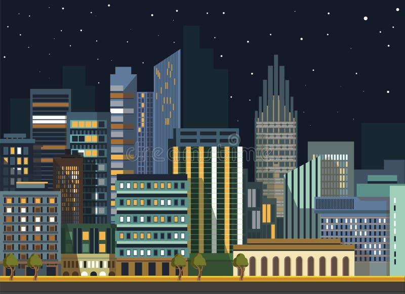 Edificios planos del panorama de la noche de la ciudad del vector urbano moderno del paisaje ilustración del vector