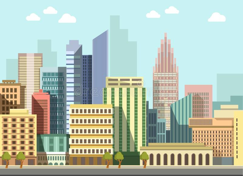 Edificios planos del panorama del día de la ciudad del vector urbano moderno del paisaje ilustración del vector