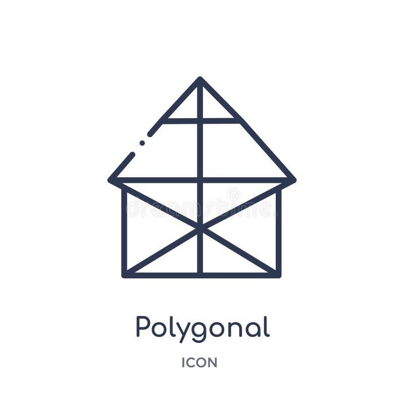 Edificios poligonales lineares del pequeño icono de los triángulos de la colección del esquema de la geometría Línea fina edifici ilustración del vector
