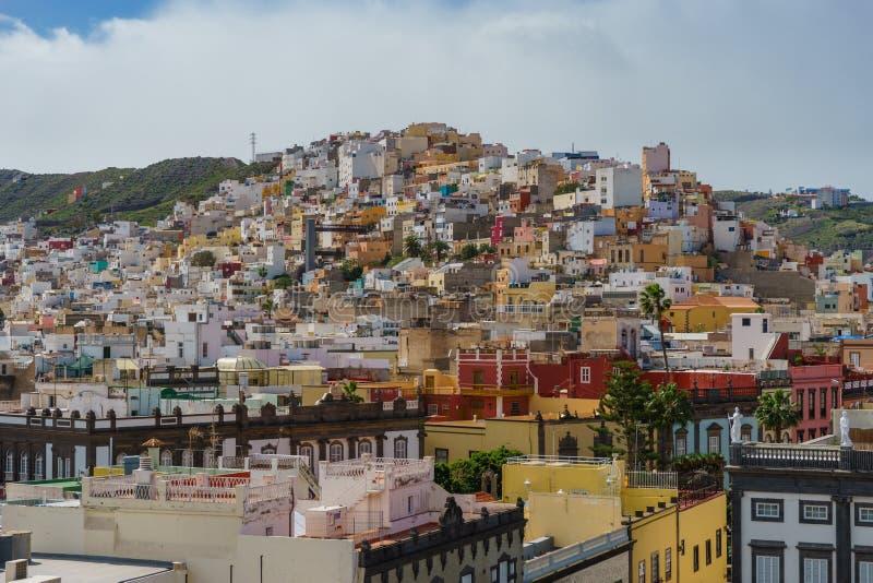 Edificios residenciales coloridos del Las Palmas, Gran Canaria, Spai foto de archivo