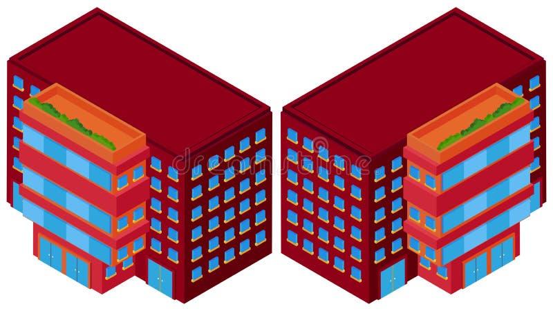 Edificios rojos a partir de dos diversos ángulos ilustración del vector