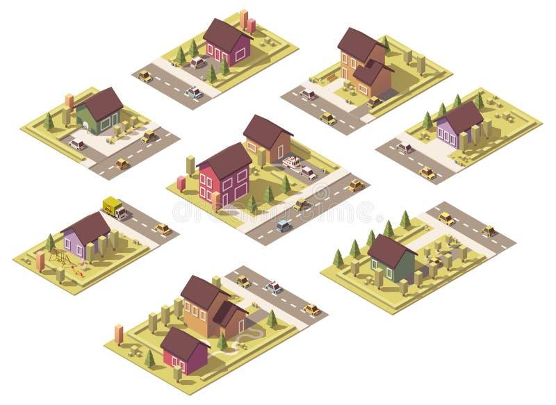 Edificios suburbanos polivinílicos bajos isométricos del vector libre illustration