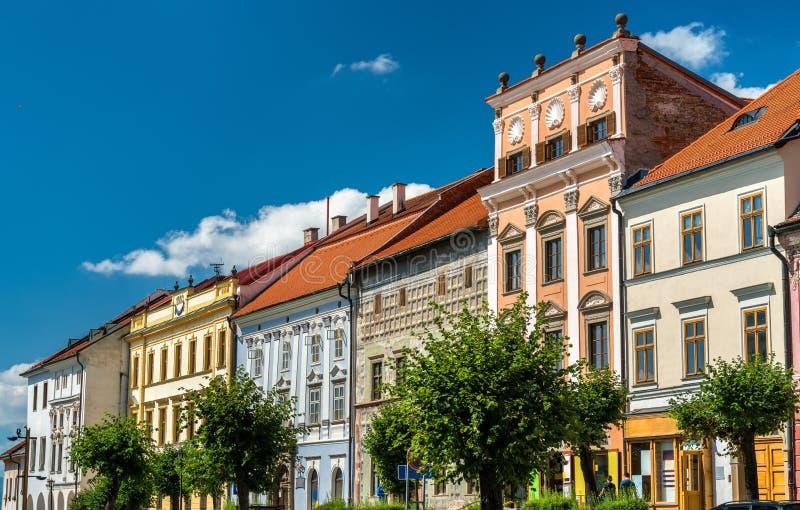 Edificios tradicionales en la ciudad vieja de Levoca, Eslovaquia imagen de archivo libre de regalías