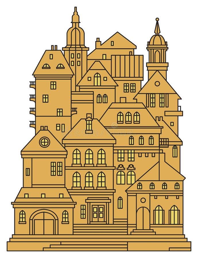 Edificios viejos en ciudad vieja libre illustration
