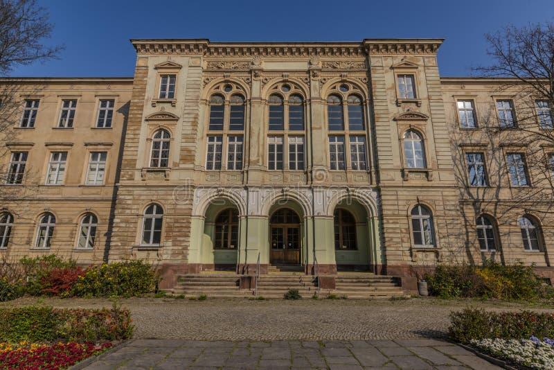 Edificios viejos por mañana soleada de la primavera en la ciudad de Zwickau en Alemania fotos de archivo libres de regalías