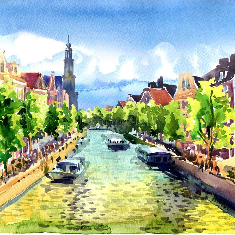 Edificios y barcos viejos tradicionales en el canal de Amsterdam, paisaje, Holanda, Países Bajos, Europa, ejemplo de la acuarela ilustración del vector