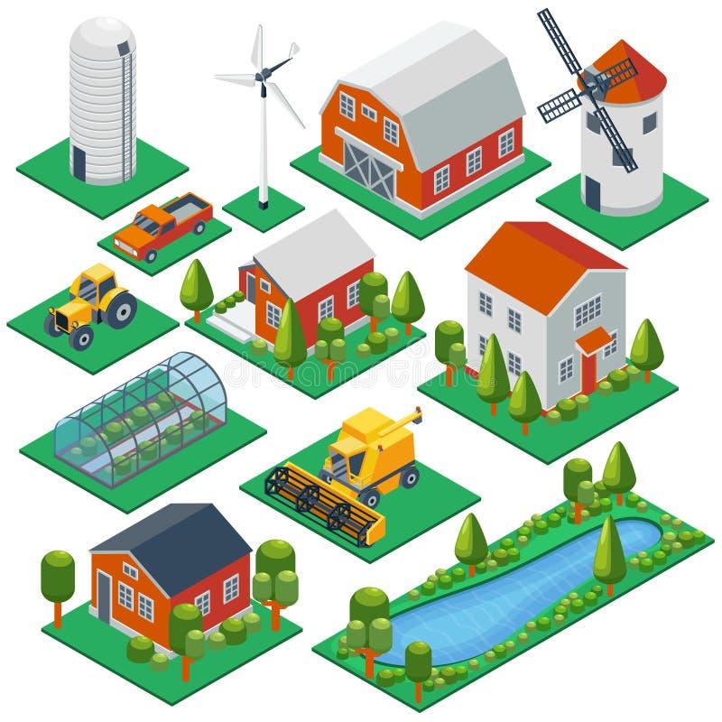 Edificios y cabañas rurales isométricos tractor 3d stock de ilustración