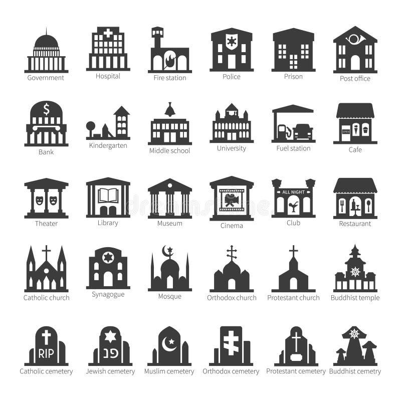 Edificios y sistema comunes del icono del vector de los lugares ilustración del vector