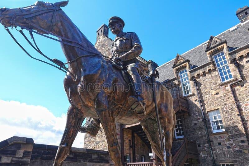 Edimbourg, statue équestre de champ Marshall Douglas Haig images stock