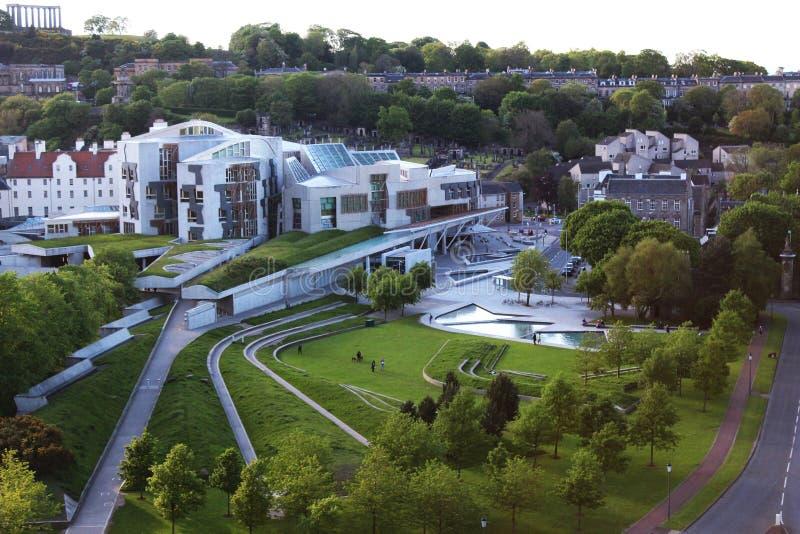 Edimburgo - construção do parlamento foto de stock