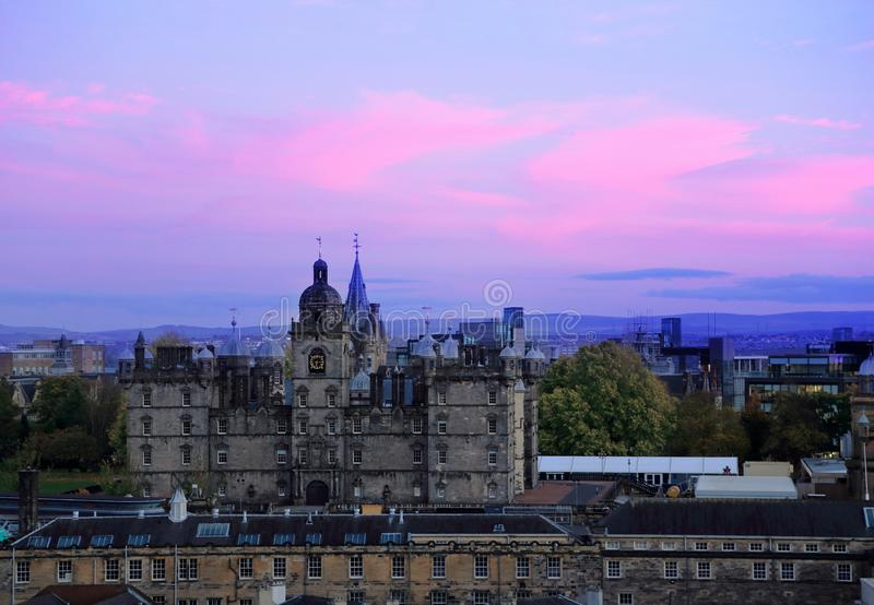 Edimburgo, Escocia Mirada de la opinión del paisaje urbano del castillo de Edimburgo foto de archivo