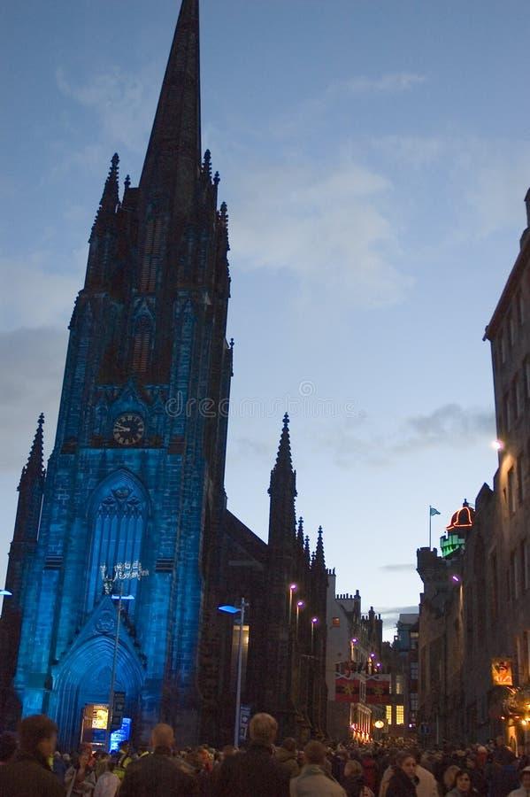 Edimburgo, a rua da franja, povos e artistas fotografia de stock