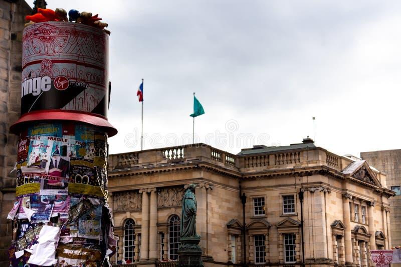 Edinburgfrans 2018 på milaffischen täckte pelare arkivfoto