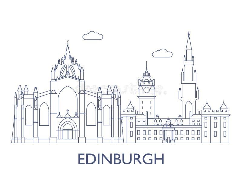 edinburgh Самые известные здания города бесплатная иллюстрация
