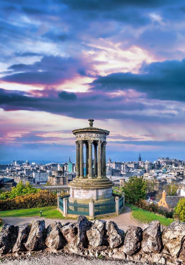 Edinburgh against sunset with Calton Hill in Scotland. Famous Edinburgh against sunset with Calton Hill in Scotland royalty free stock photo