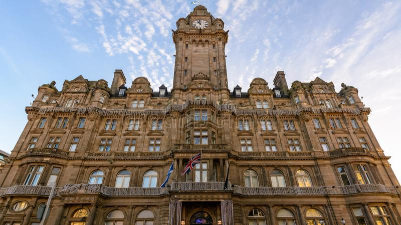 Edinburgh Balmoral Hotel Facade. View from Princes Street, Middle Angle, Architect William Hamilton Beattie 1842-1898, Victorian Architecture with traditional royalty free stock photos