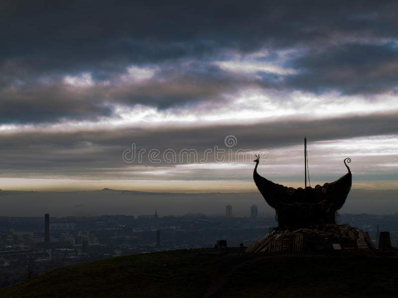 Edinburgh Bonfire Viking Ship Royalty Free Stock Photography