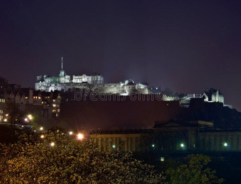 Edinburgh castle. Beautiful view of Edinburgh castle at night royalty free stock photos