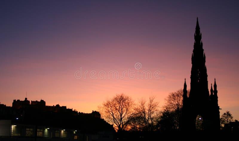 Edinburgh castle at dusk. Edinburgh castle and Scott Monument at dusk Edinburgh Scotland stock images