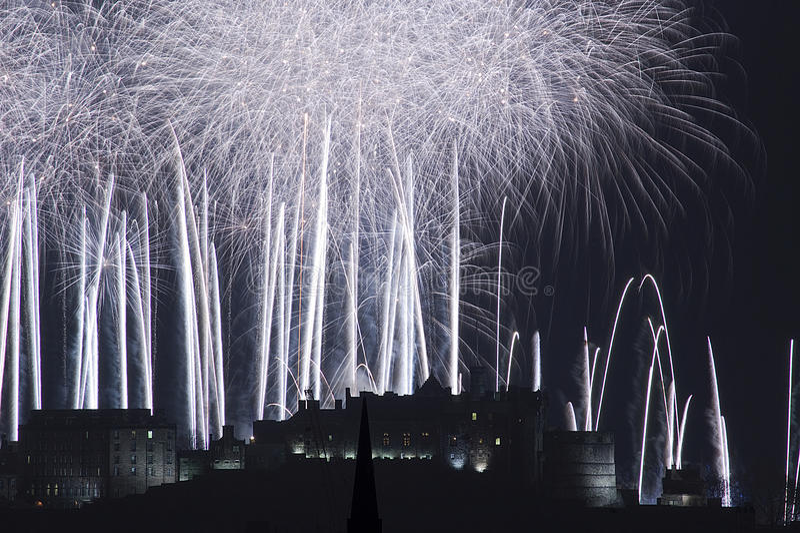 Edinburgh Castle Fireworks royalty free stock photography