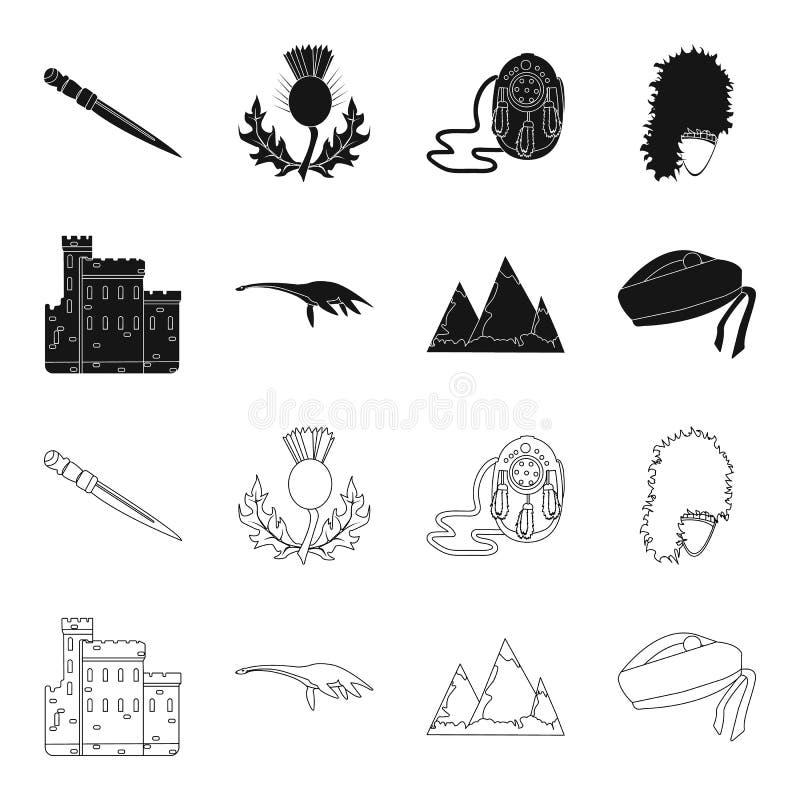 Edinburgh Castle, Loch Ness Monster, Grampian Mountains, national cap balmoral,tam shanter. Scotland set collection vector illustration