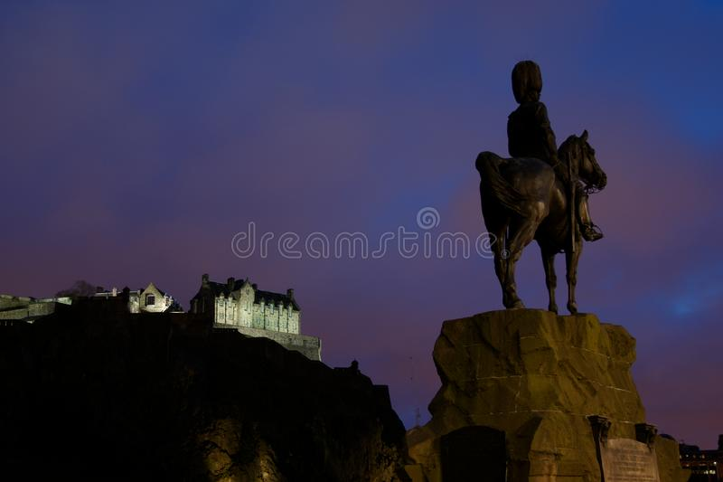 Edinburgh Castle at night royalty free stock photography