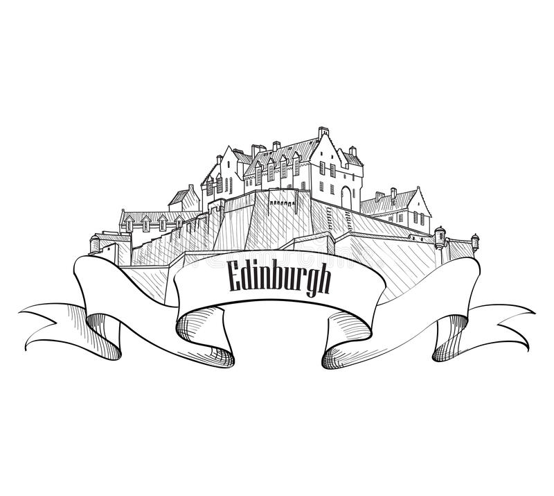 Edinburgh Castle in Scotland isolated. Vintage engraving sketch vector illustration