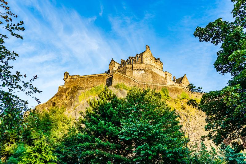 Edinburgh Castle. Edinburgh, Scotland, UK: The Edinburgh Castle dominates the skyline of the city of Edinburgh from its position on top of the Castle Rock royalty free stock photos
