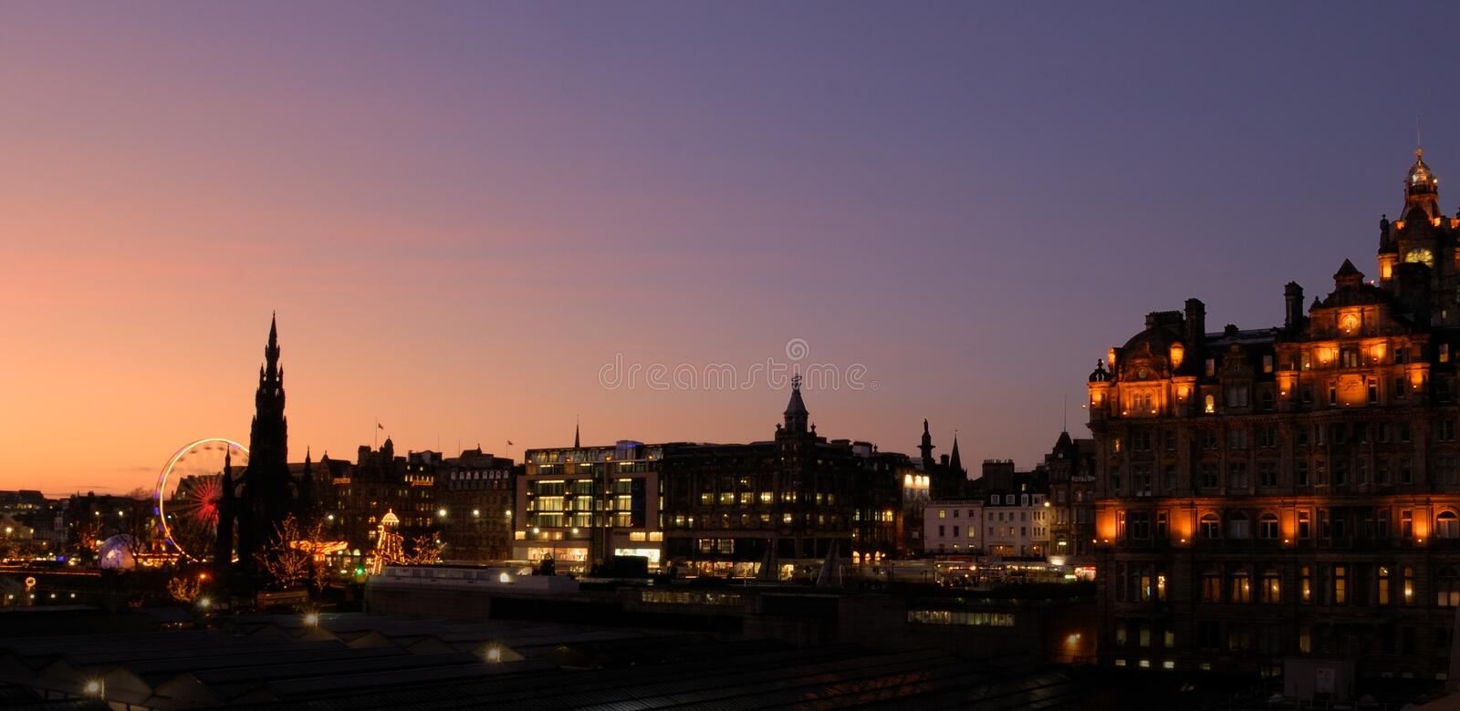 Edinburgh Christmas panorama royalty free stock photo