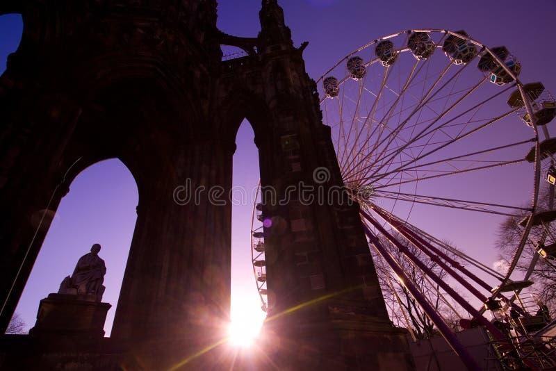 Edinburgh Christmas Skyline stock images