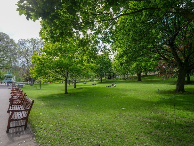 Edinburgh city center. Beautiful green park in Edinburgh, visited in May 2019 royalty free stock photo