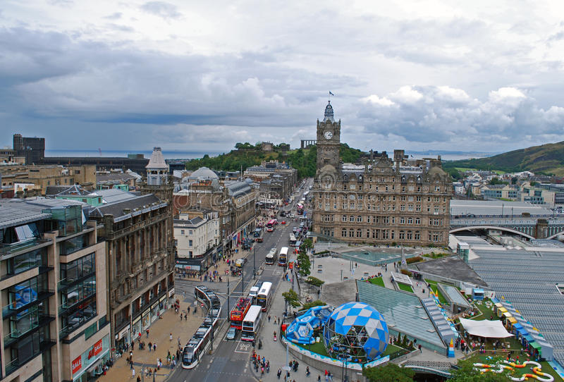 Edinburgh city princes street Scotland stock photography