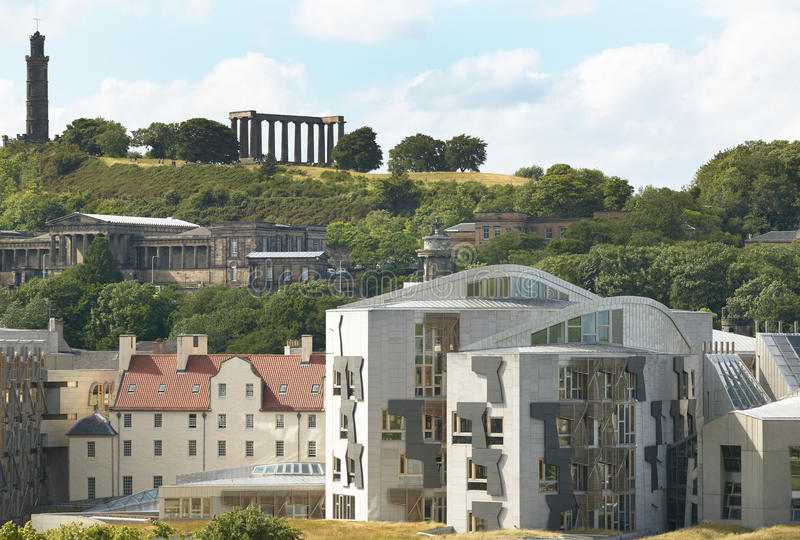 Edinburgh city view with Parliament and Regent Garden. Scotland. UK. Horizontal stock images