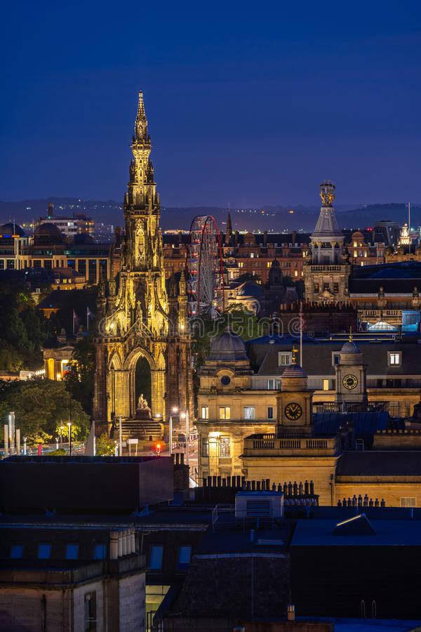 Edinburgh sunset. Edinburgh Cityscape from Calton Hill sunset dusk, Edinburgh, Scotland UK royalty free stock images