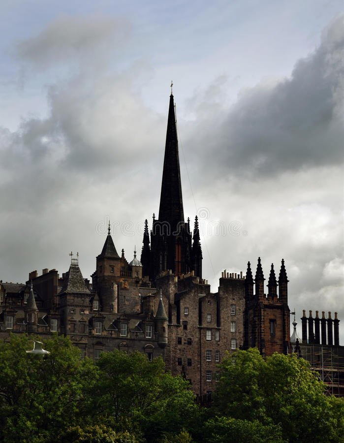 Edinburgh Cityscape. With church tower, Assembly Hall and New College, The University of Edinburgh stock image