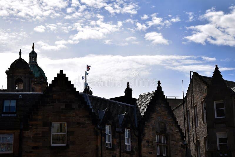 Edinburgh Cityscape. Classic street in Edinburgh`s Old Town. Detail on rooftops stock photo