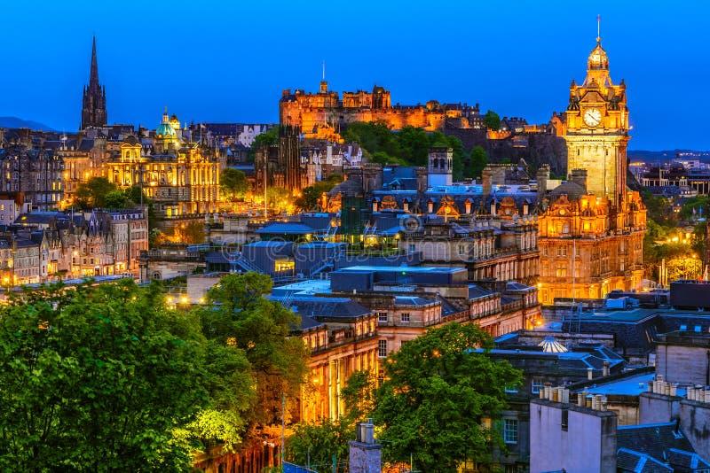 Edinburgh cityscape in the evening, Scotland stock image