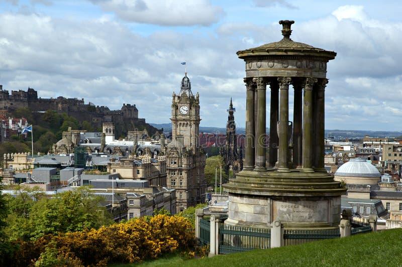 Edinburgh dalla collina di Calton fotografie stock libere da diritti