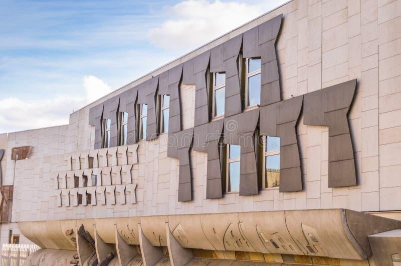 Edinburgh, het UK - 06 April 2015 - het Schotse Parlement royalty-vrije stock afbeelding