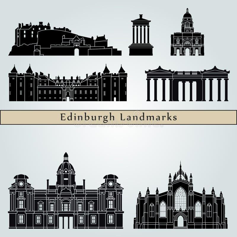 Edinburgh landmarks and monuments vector illustration