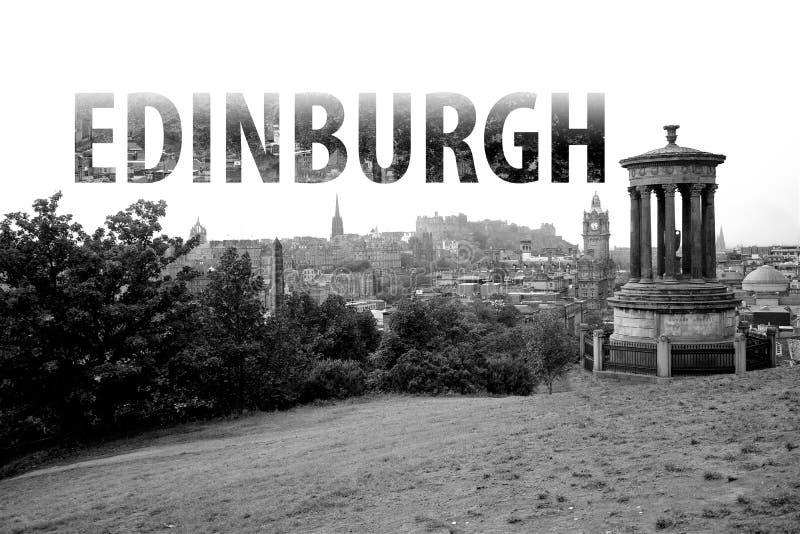 Edinburgh Lettering in Black and White Scotland. In Great Britain stock photo
