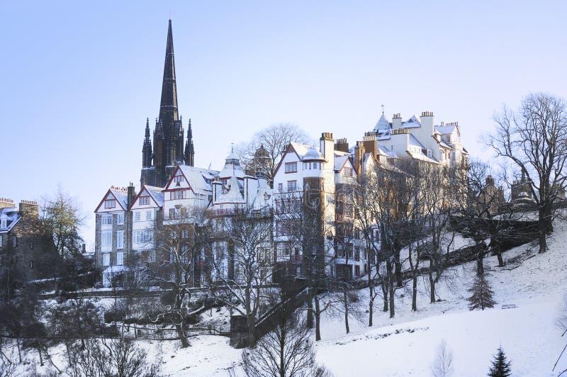 Edinburgh nella neve immagini stock libere da diritti